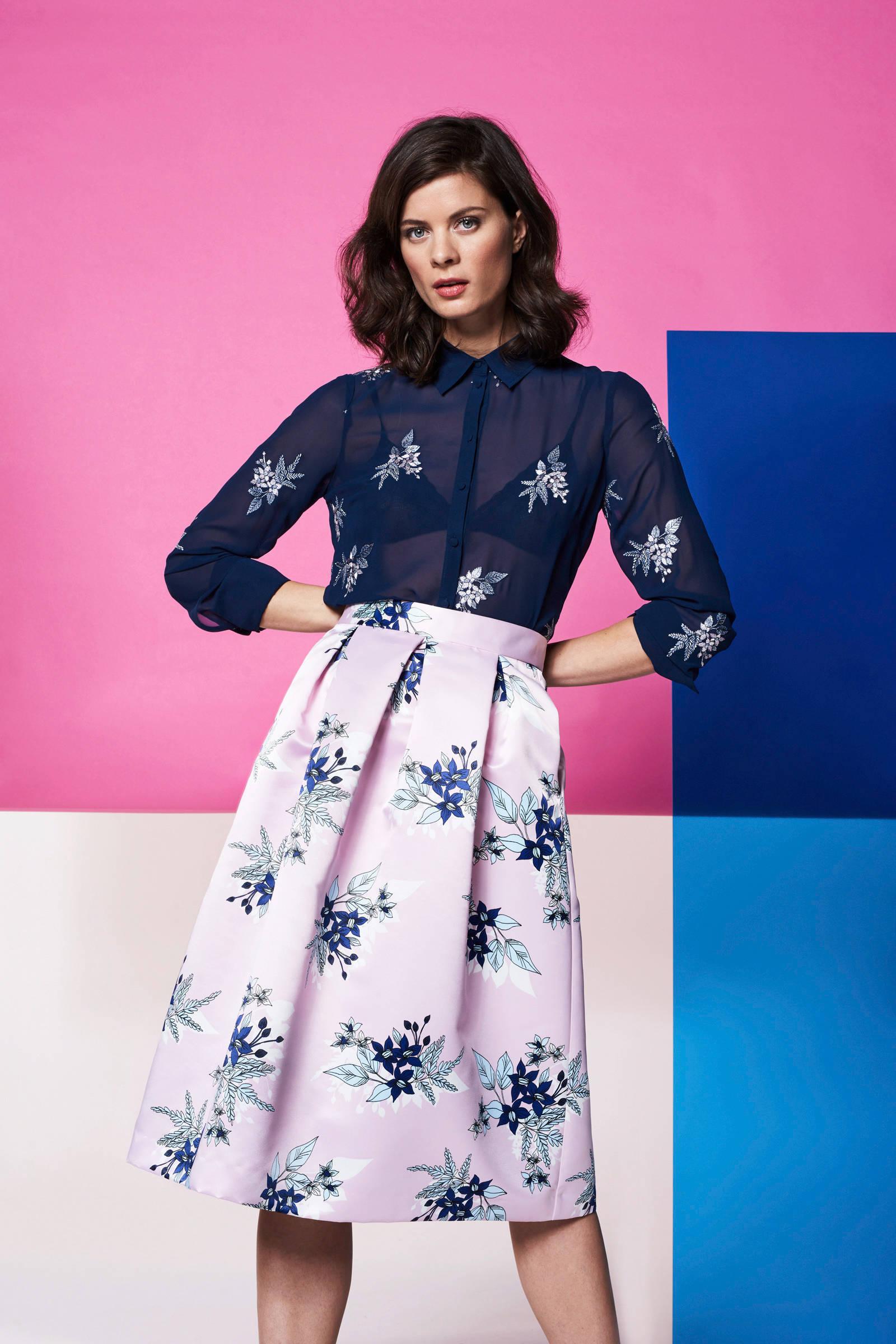 met blouse Steps bloemen Steps met blauw bloemen blouse blauw R7RanOxXYq