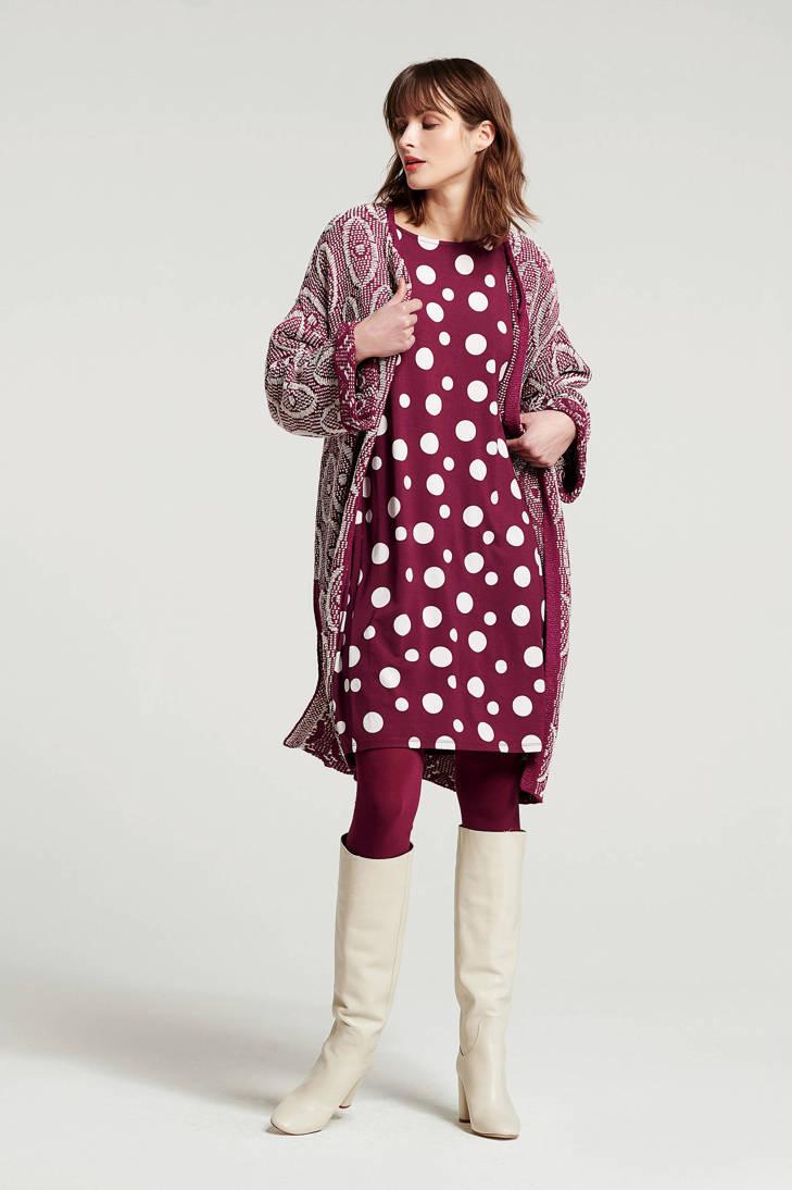 oversized Didi jurk met donkerrood stippen rrdwnqa4