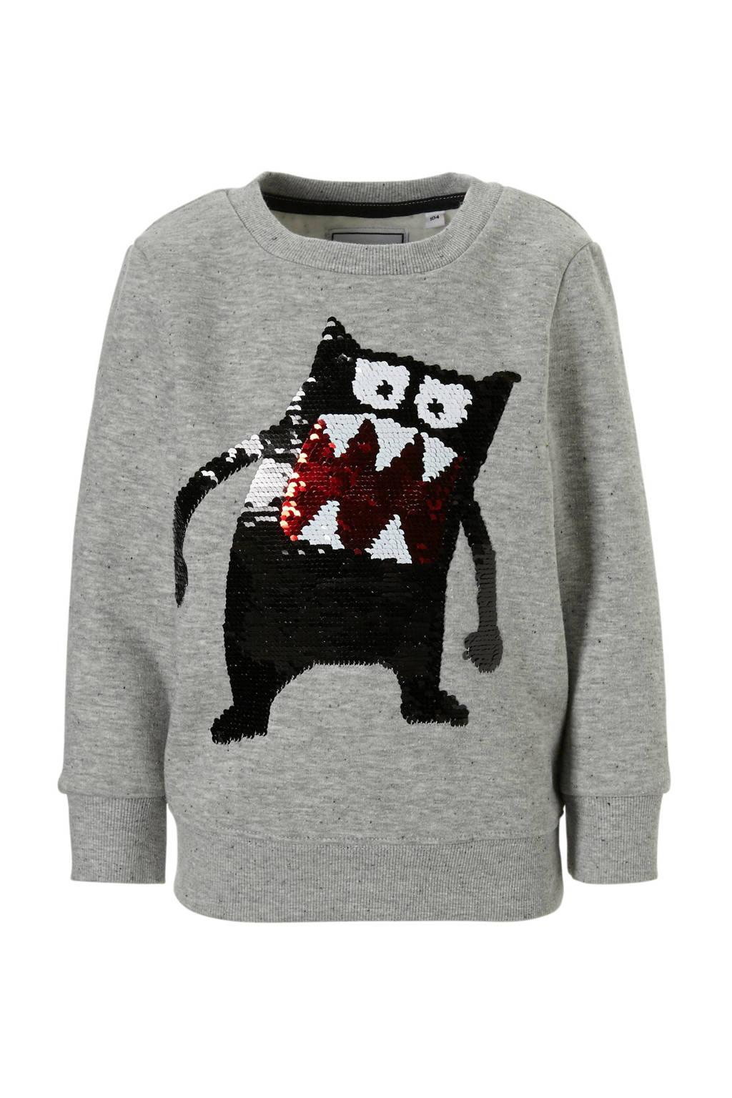 C&A Palomino sweater met omkeerbare pailletten grijs, Grijs melange