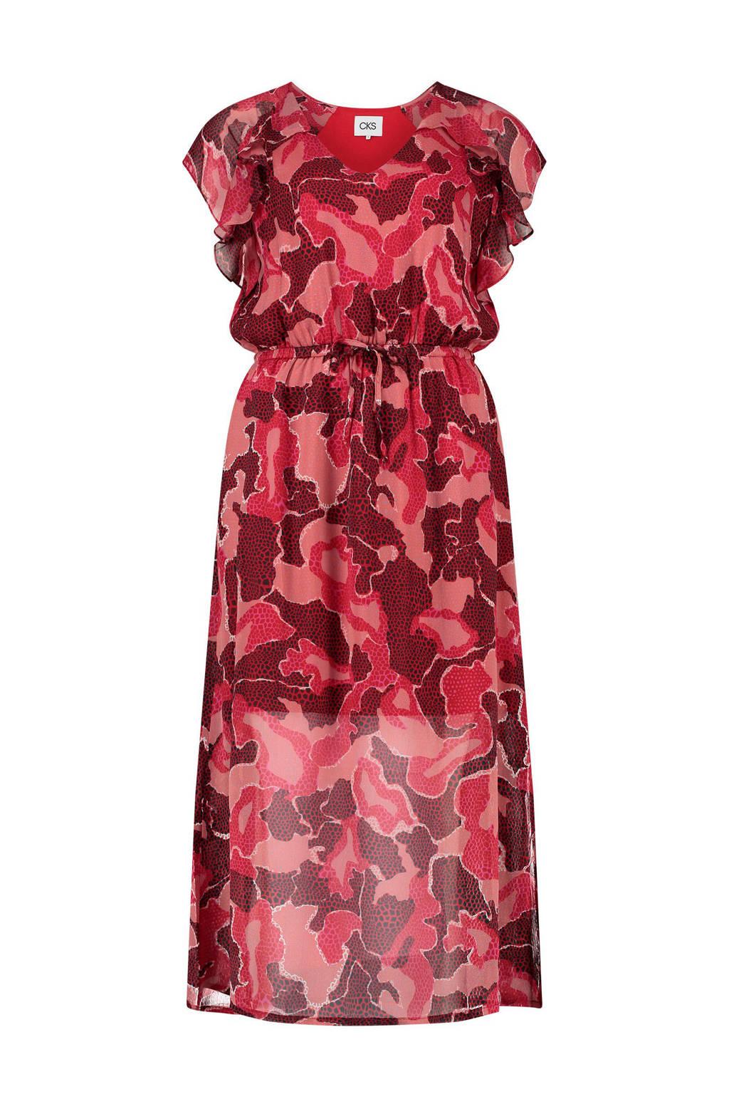 CKS Eri jurk met girafprint en ruches rood/roze, Rood/roze