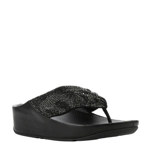 FitFlop TM Twiss Crystal teenslippers zwart