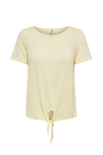 gestreept T-shirt met knoopdetail
