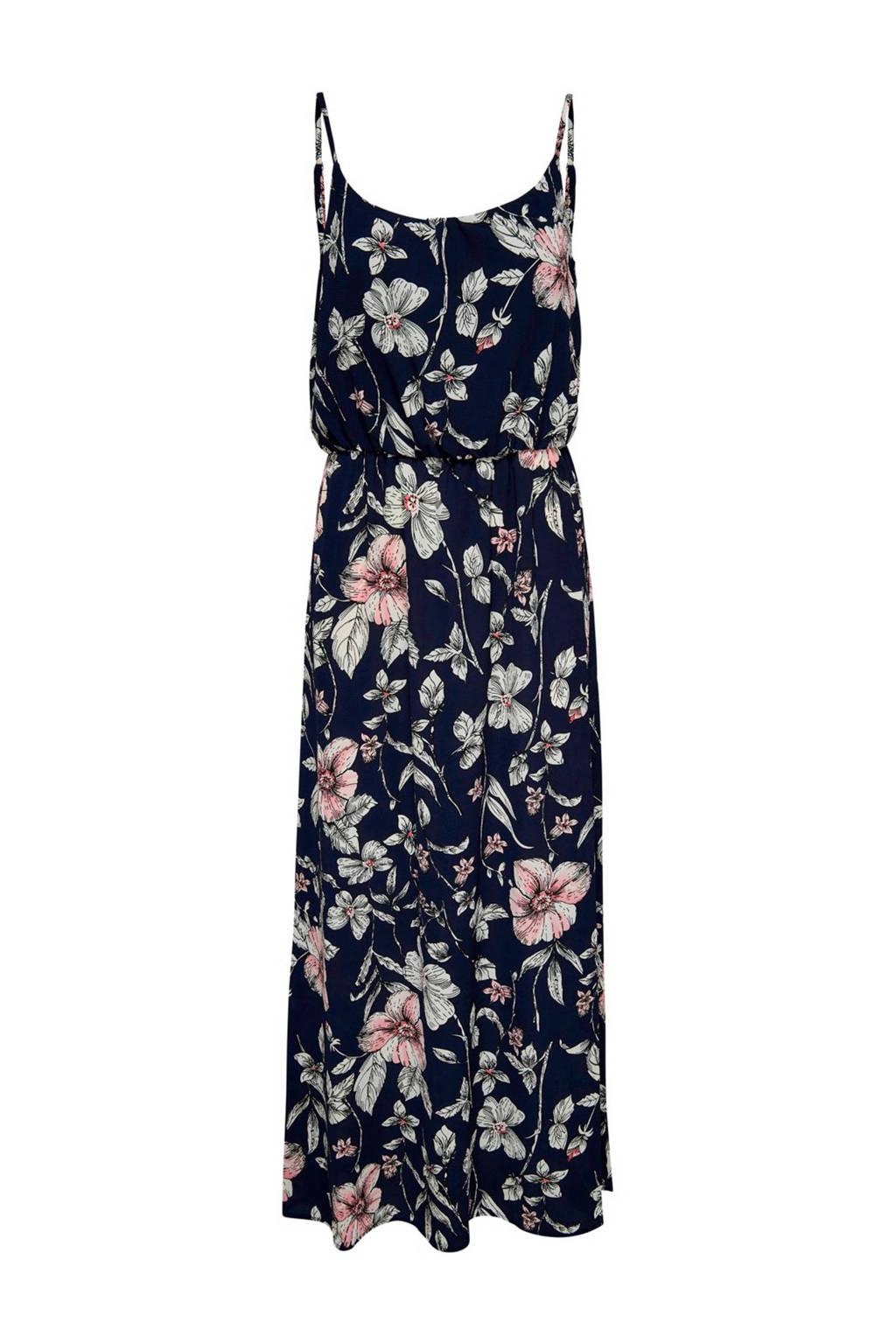 ONLY jurk met bloemen, Donkerblauw/ roze