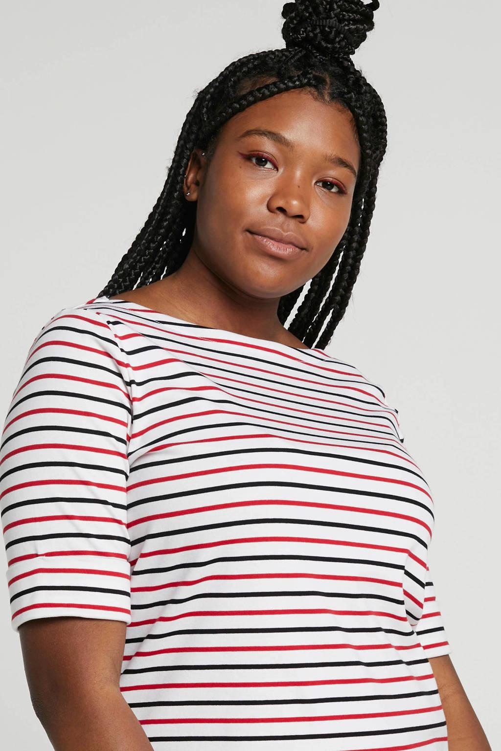Lauren Woman gestreepte top, wit/rood/donkerblauw