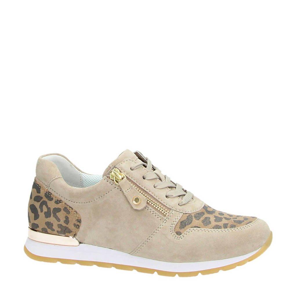 Gabor  suède sneakers met panterprint, Taupe