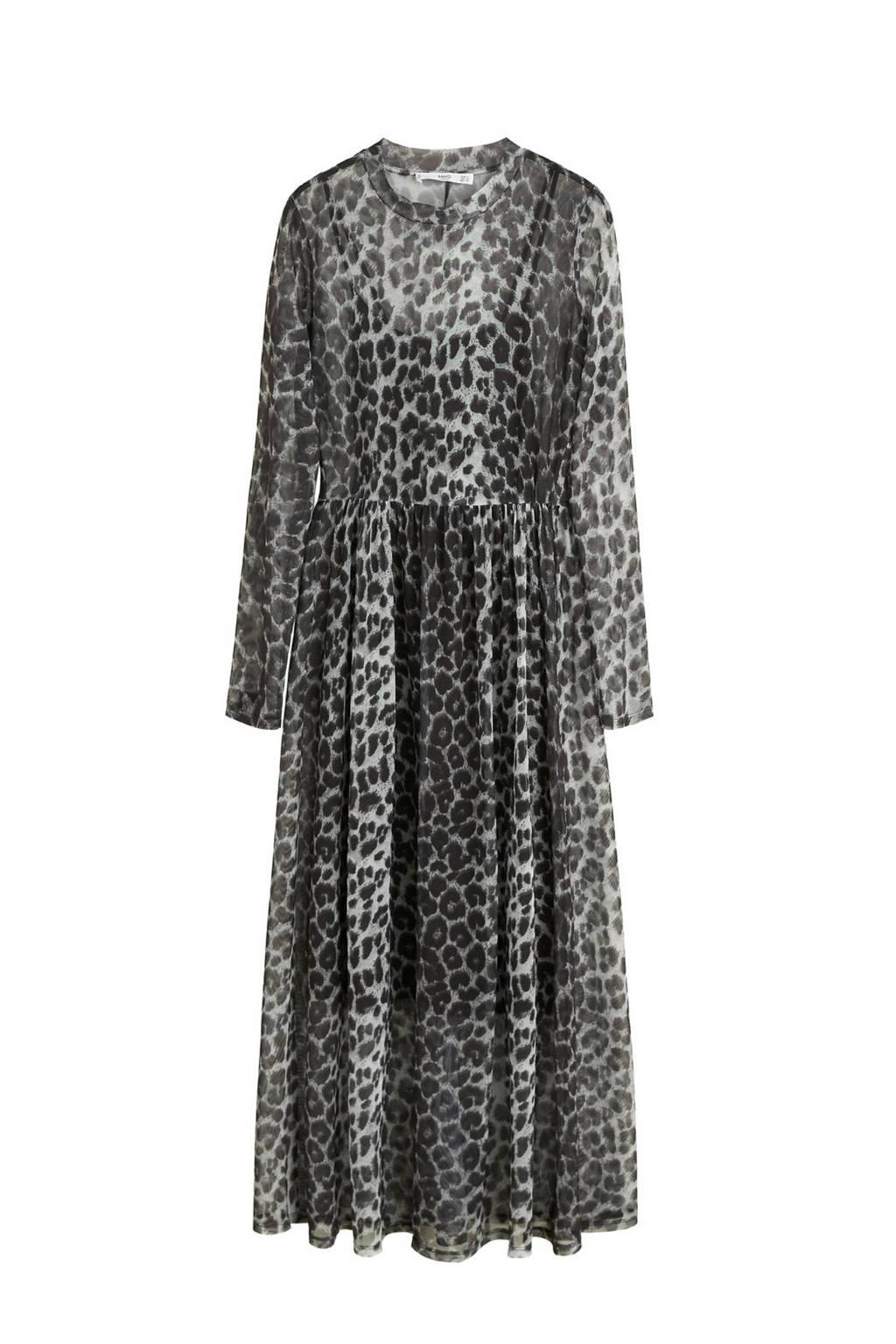 Mango jurk met panterprint zwart, Zwart/grijs