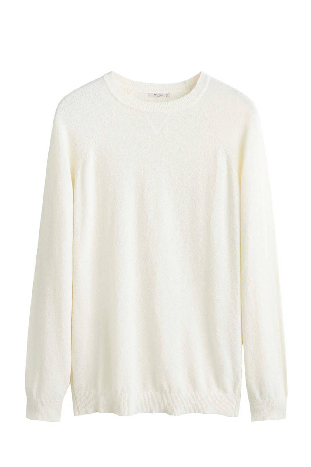 Mango Man trui met textuur wit, Wit