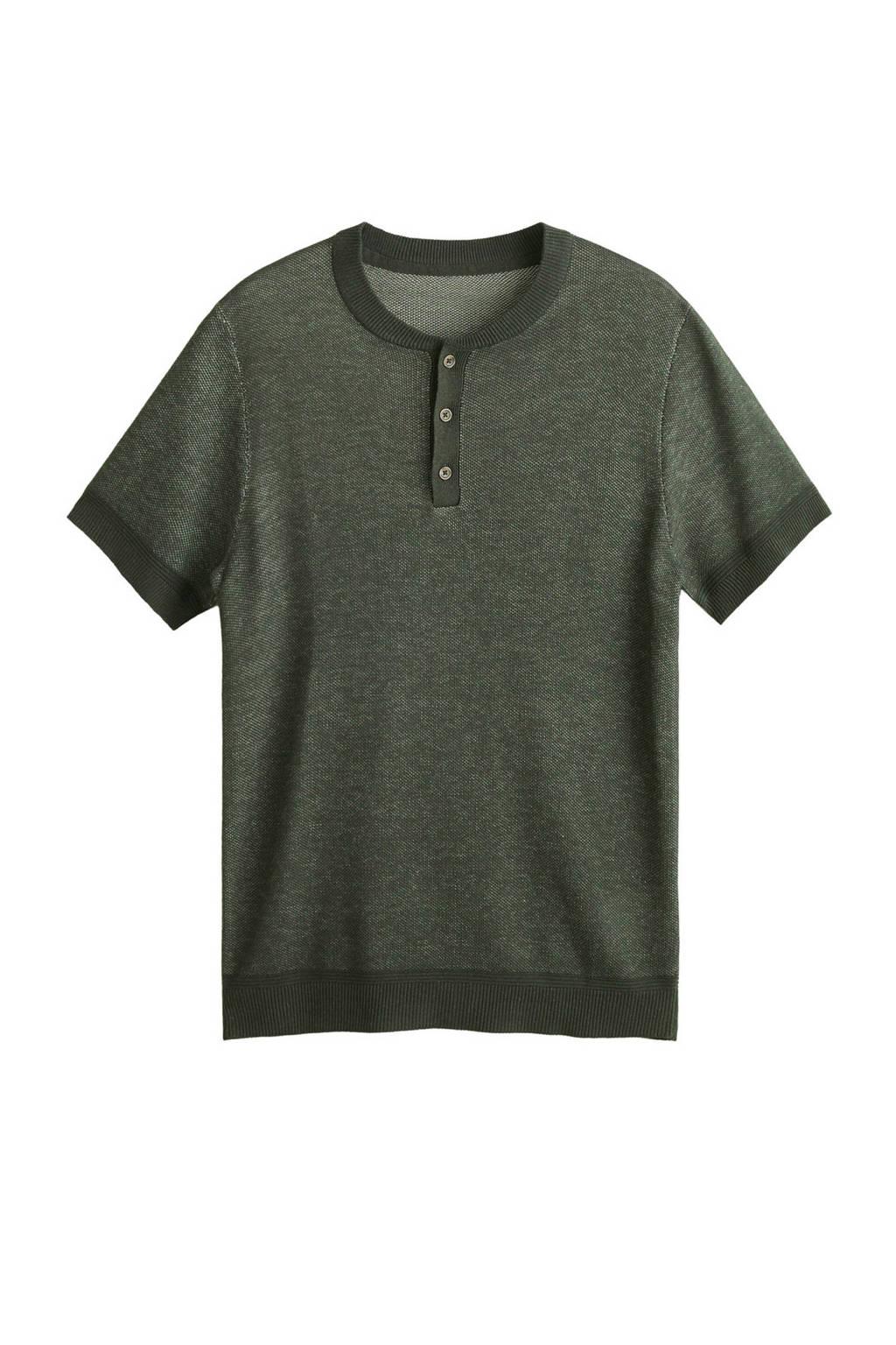 Mango Man T-shirt met linnen groen, Groen