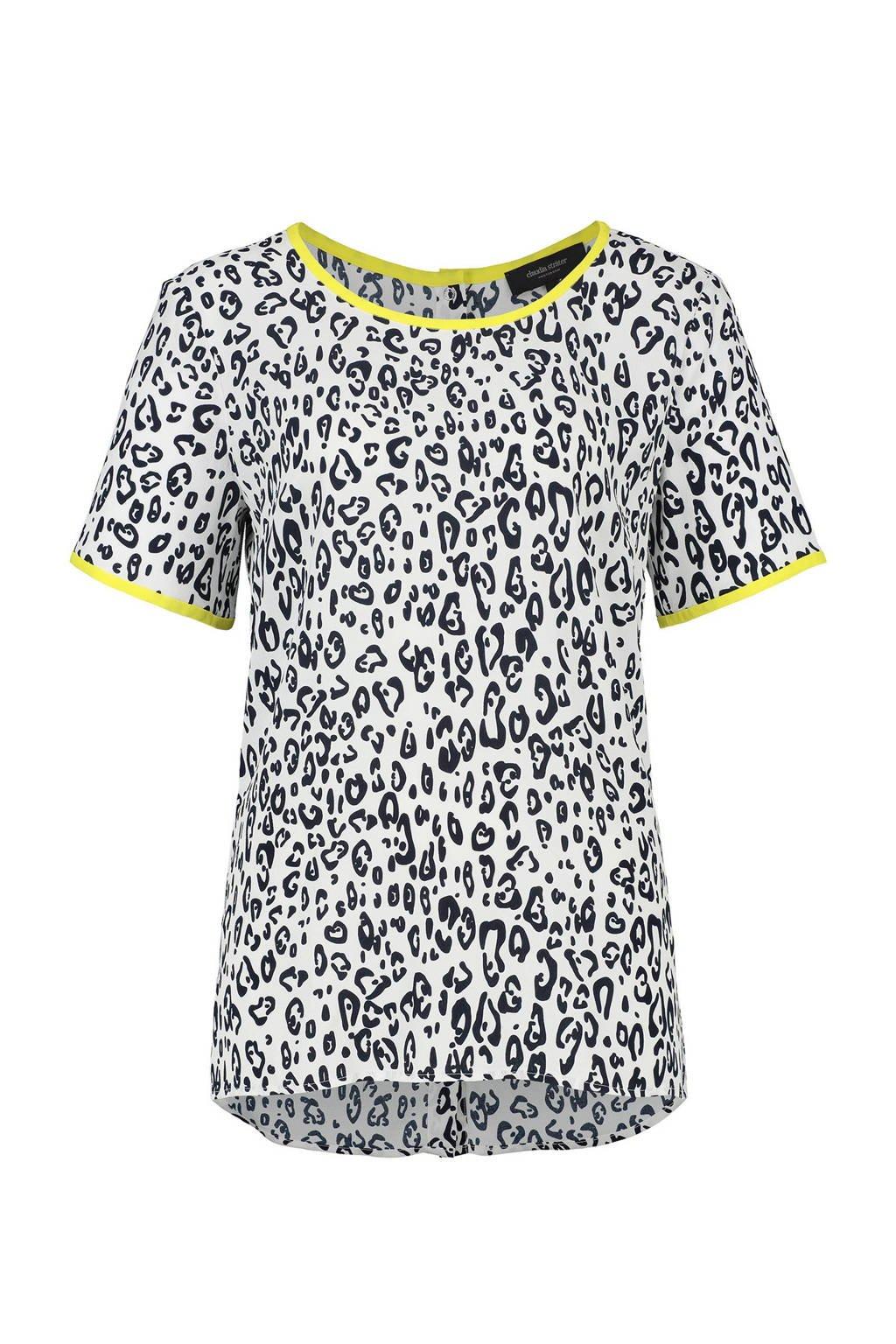 Claudia Sträter T-shirt met panterprint wit, Wit/zwart/geel