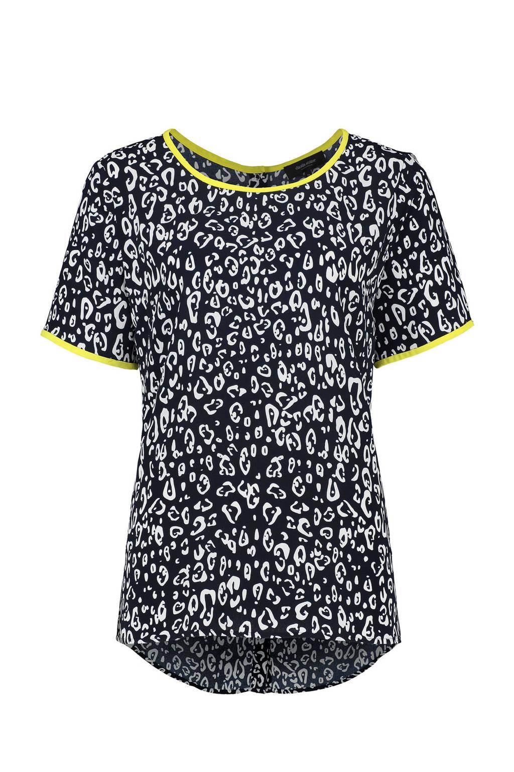 Claudia Sträter T-shirt met panterprint blauw, Blauw/wit/geel