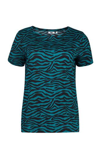 T-shirt met zebraprint blauw