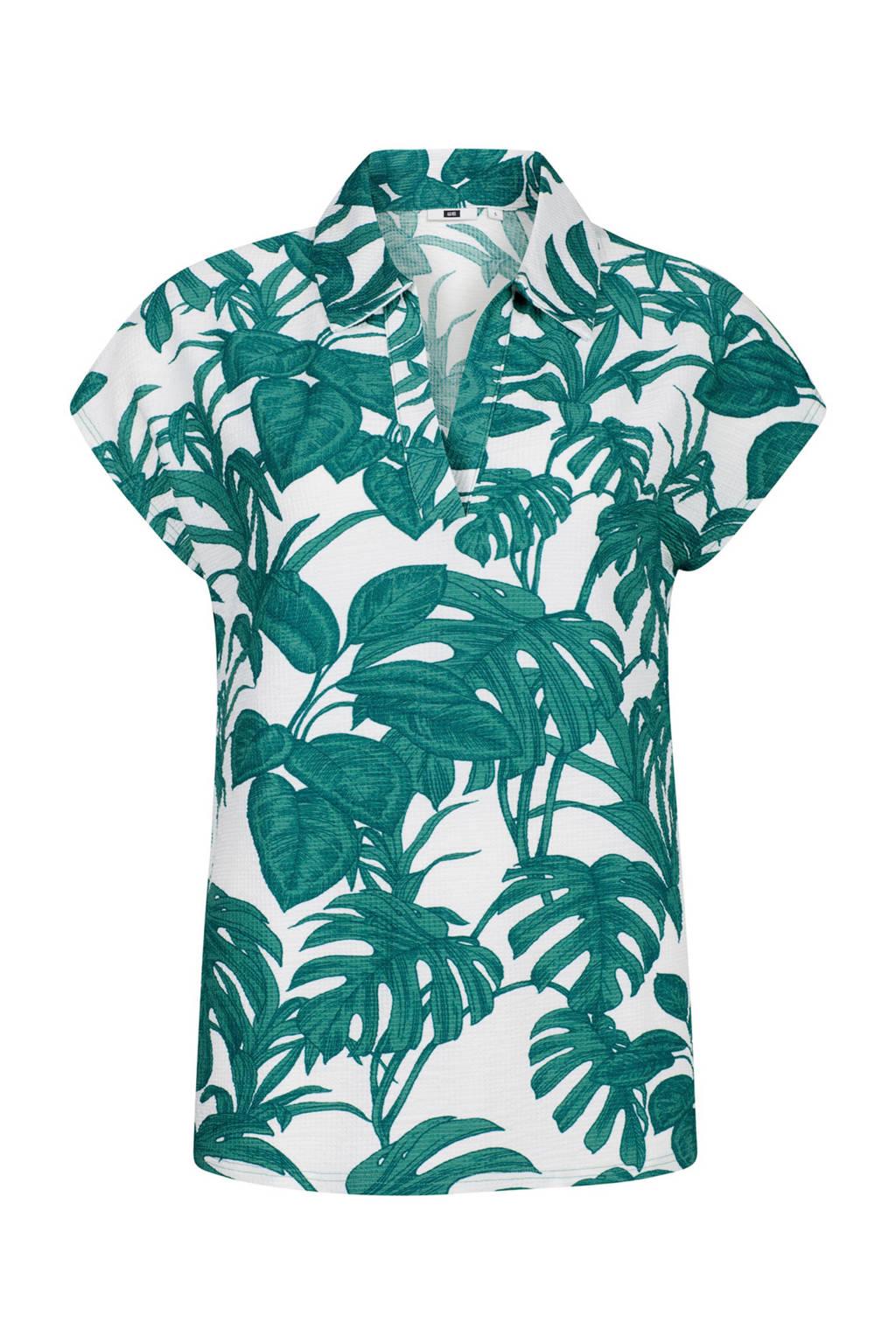 WE Fashion top met bladprint mintgroen, Mintgroen