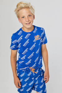 WE Fashion zwemshort met all over print blauw, Pure Blue