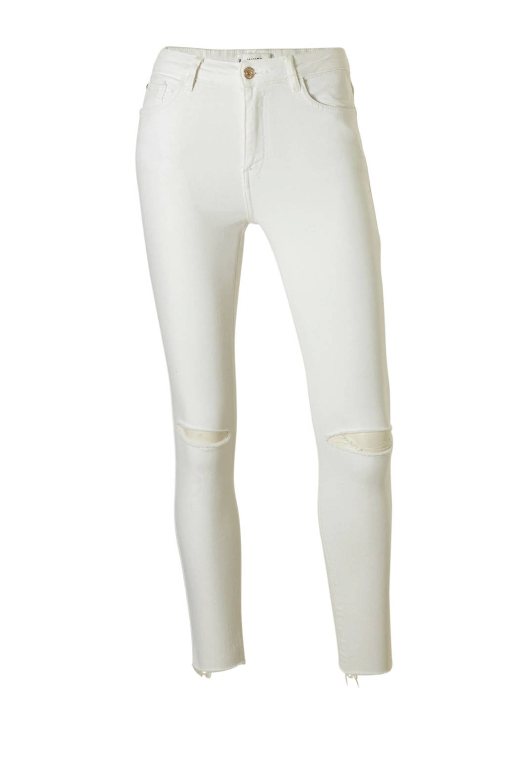 Mango cropped high waist skinny jeans, Wit