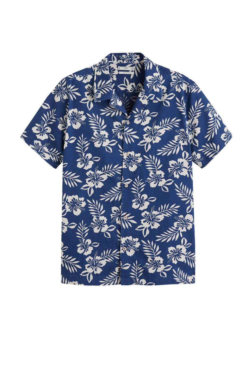 Mango Man gebloemd regular fit overhemd blauw, Blauw/wit