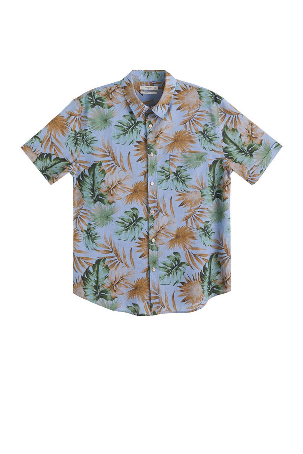 Mango Man regular fit overhemd met print blauw, Blauw/groen/bruin