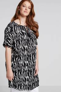 whkmp's great looks tuniek met all over print zwart, Zwart/wit