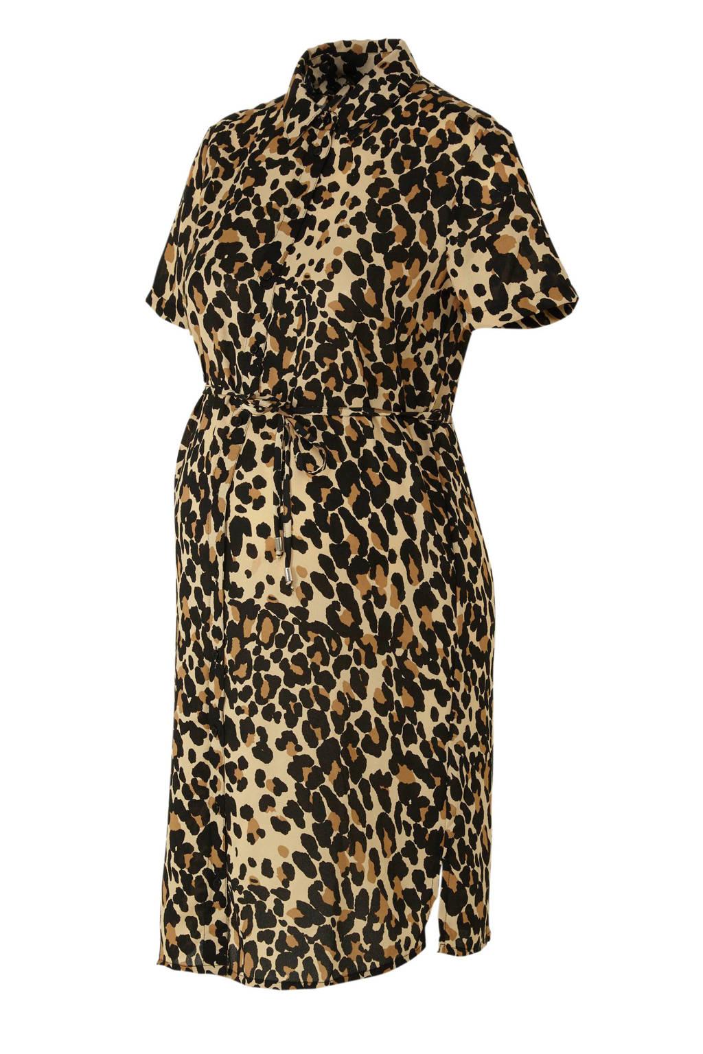 wehkamp zwangerschaps-blousejurk met panterprint, Camel/zwart