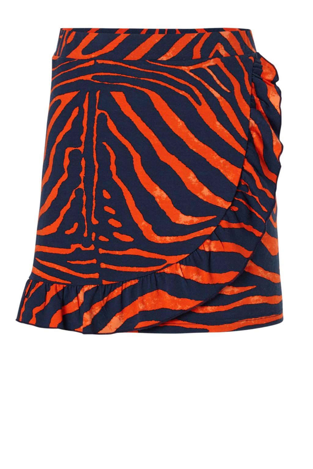 Geisha rok met zebraprint rood/donkerblauw, Rood/donkerblauw