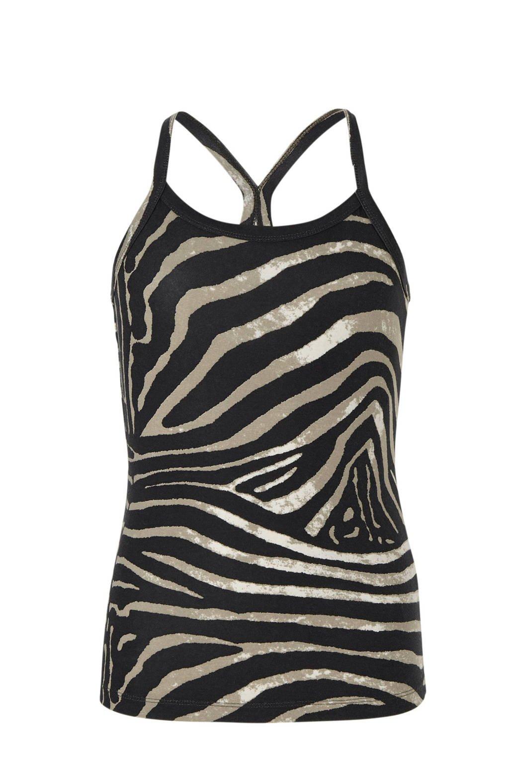 Geisha top met zebraprint zand/zwart, Zand/zwart