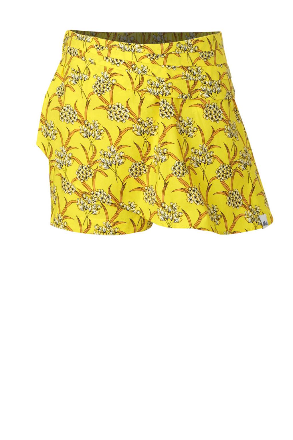 NIK&NIK skort Bloom met all over print geel, Geel
