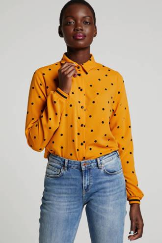 blouse met stippen okergeel/zwart
