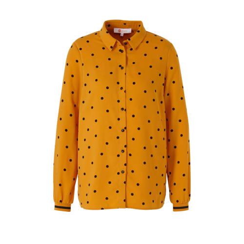 wehkamp blouse met stippen okergeel/zwart