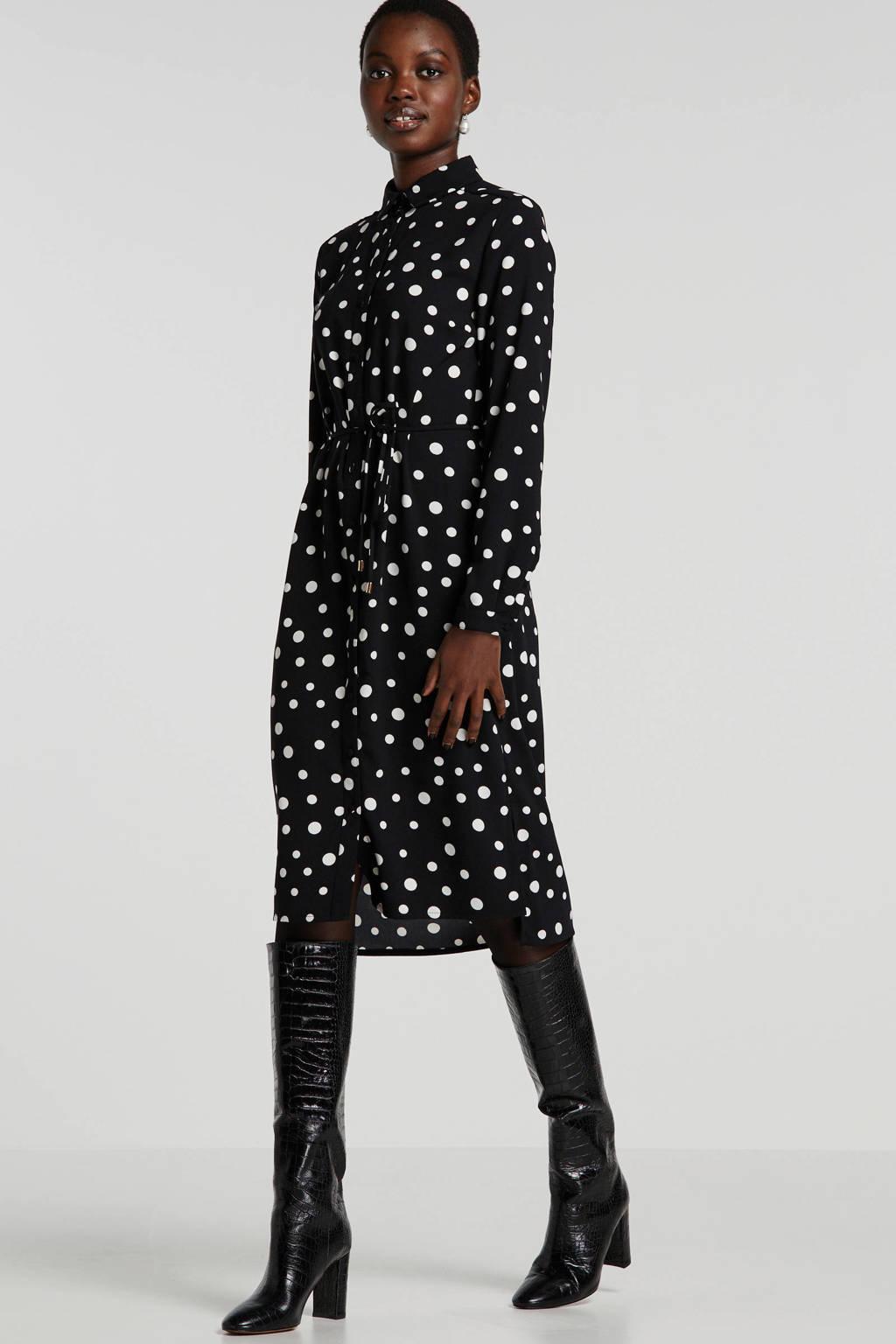 anytime blousejurk met stippen en ceintuur zwart/wit, Zwart/wit