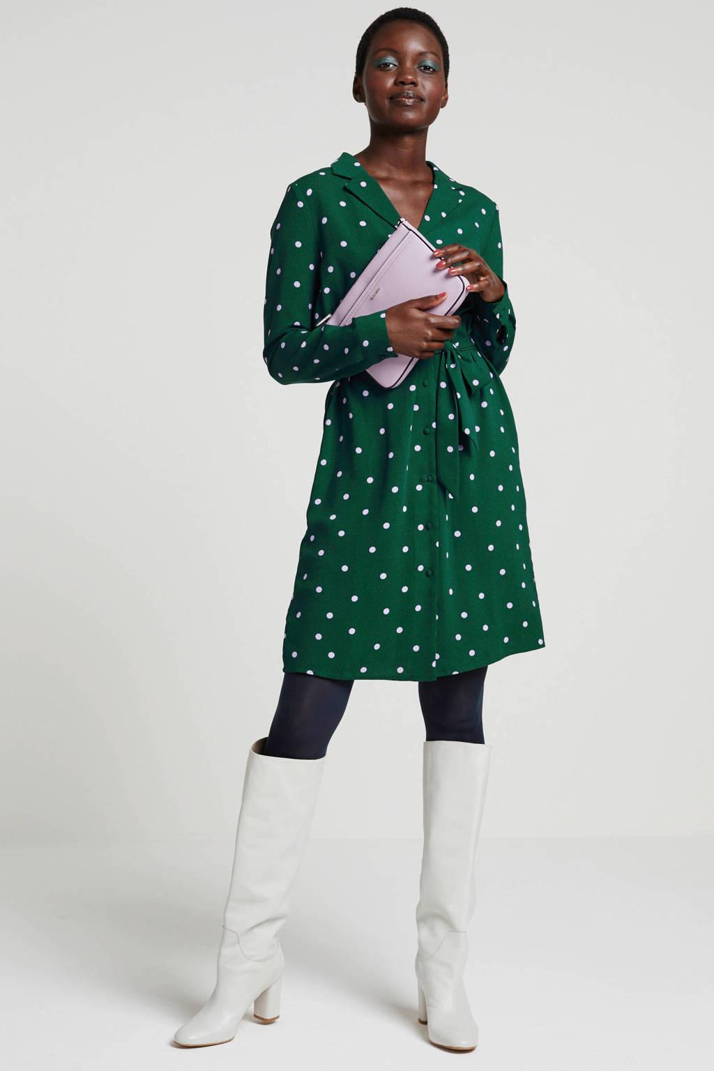 wehkamp jurk met stippen groen, Donkergroen/lila