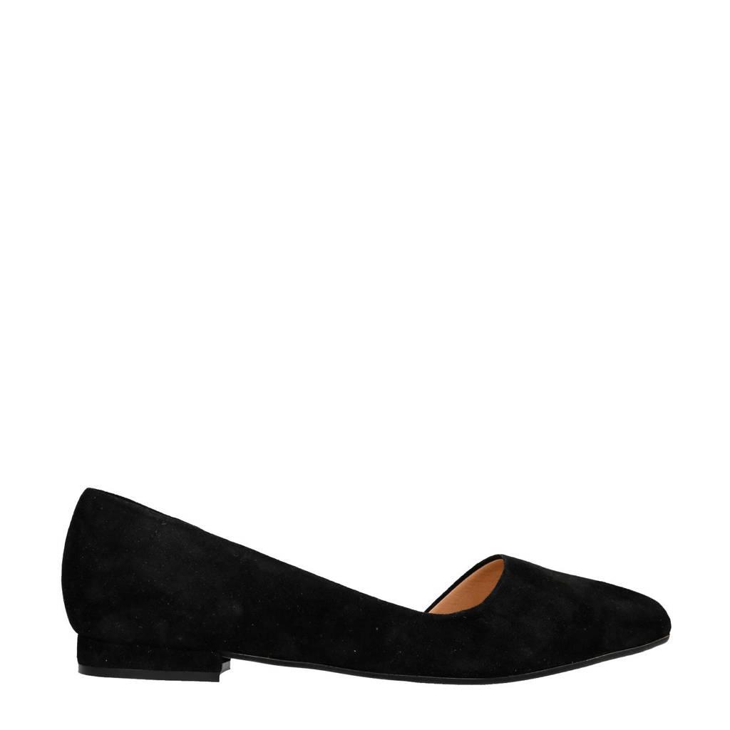 Manfield suède loafers zwart, Zwart