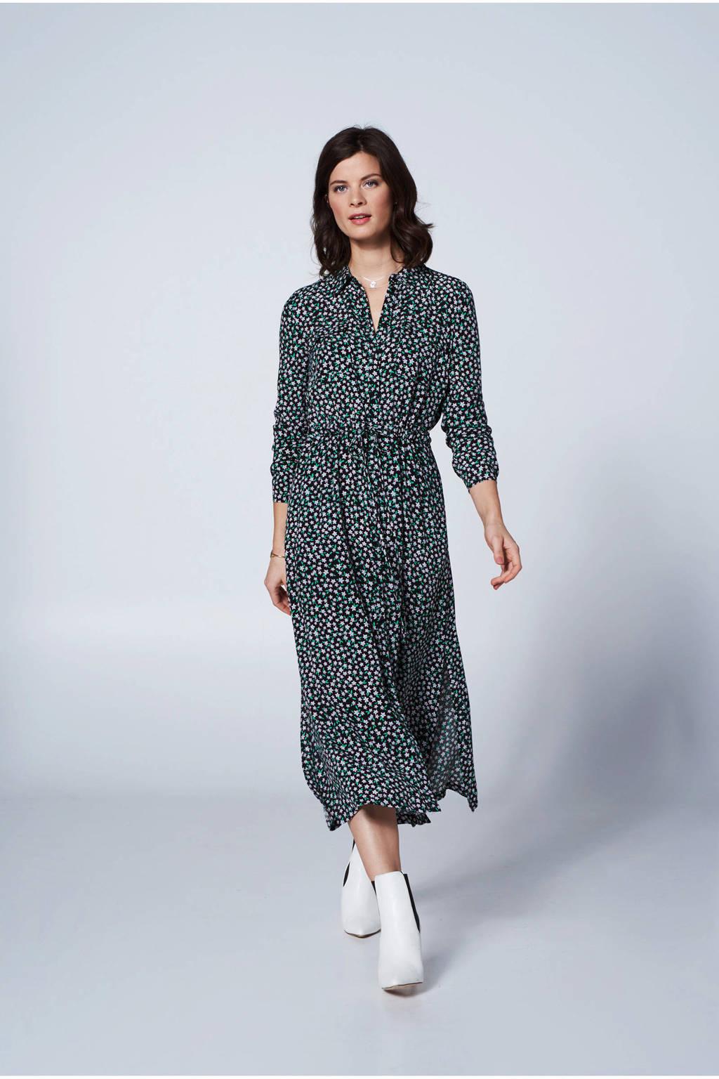 Steps gebloemde jurk, Zwart/roze/groen