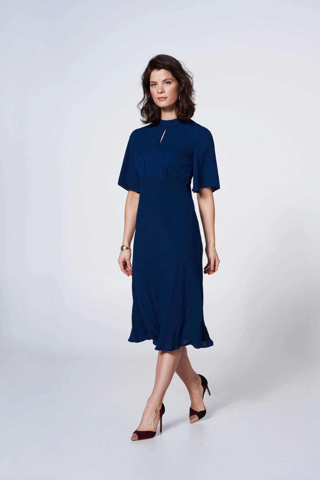 Steps jurk met mesh donkerblauw, Donkerblauw