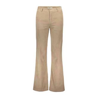 corduroy flared broek beige