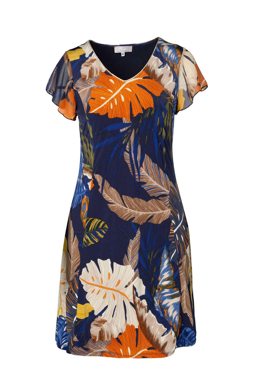 Cassis jurk met all over print blauw, Marine