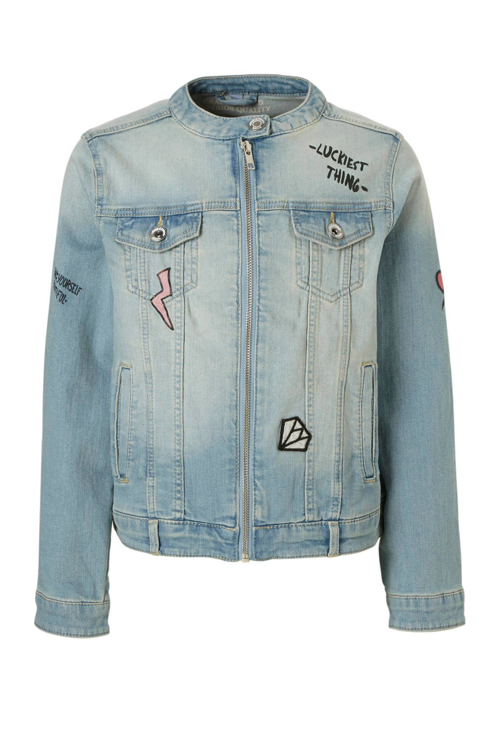 C&A Here & There spijkerjas met tekst en patches, Light stonewashed