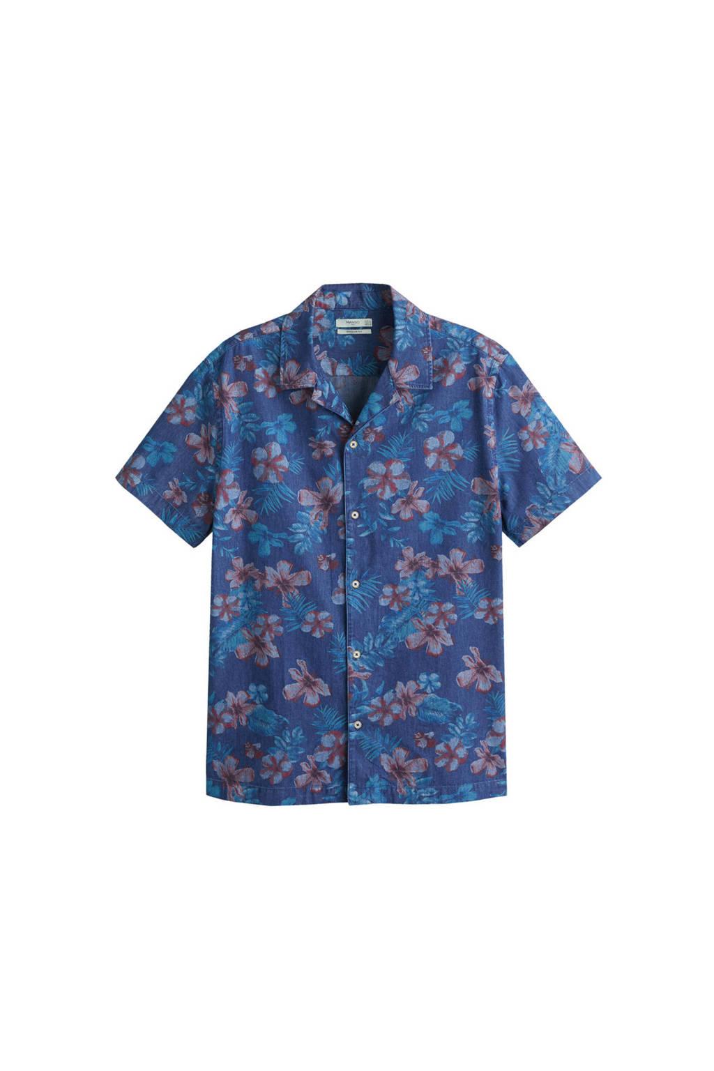 Mango Man gebloemd regular fit overhemd blauw, Blauw