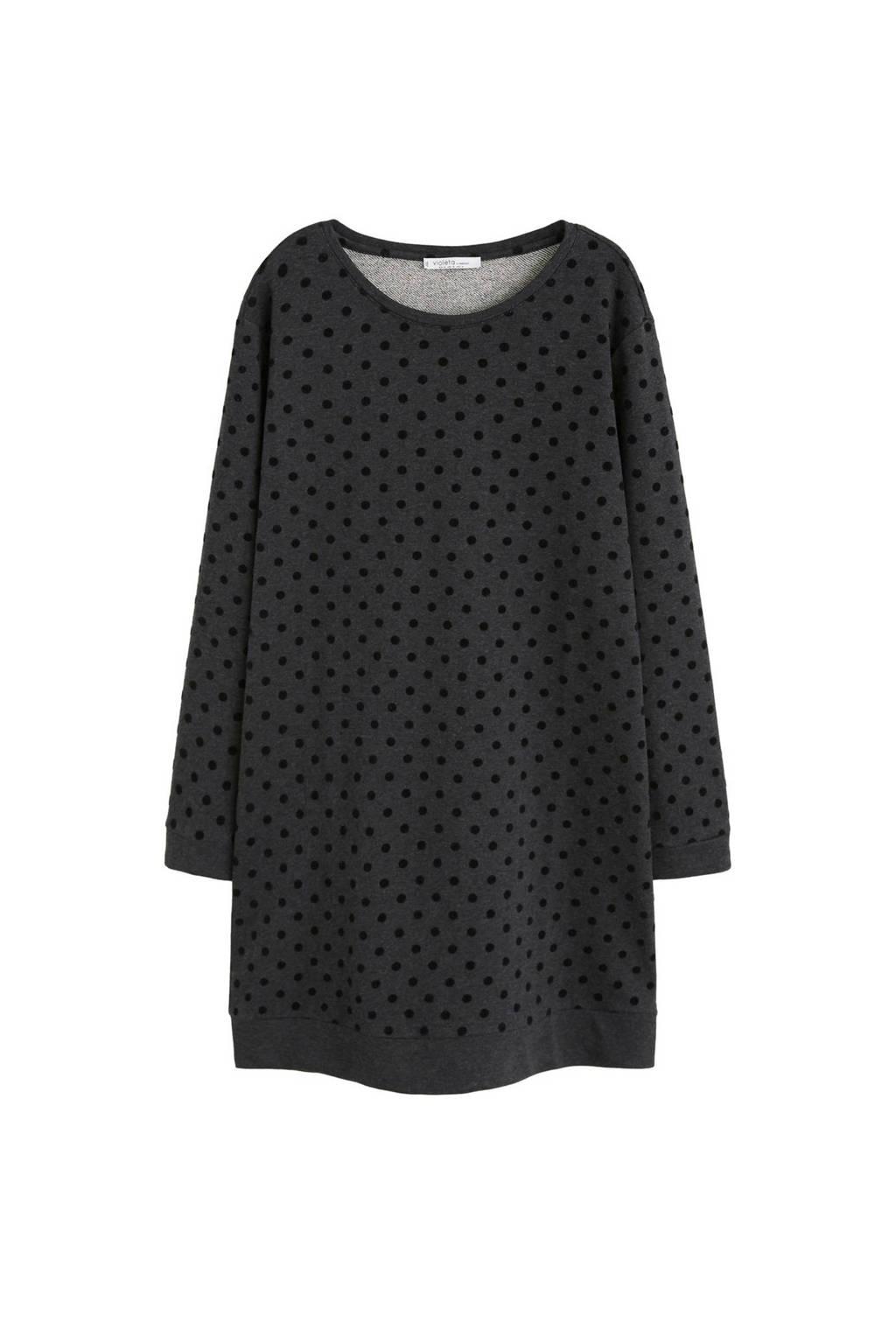 Violeta by Mango jurk met stippenprint donkergrijs, Donkergrijs