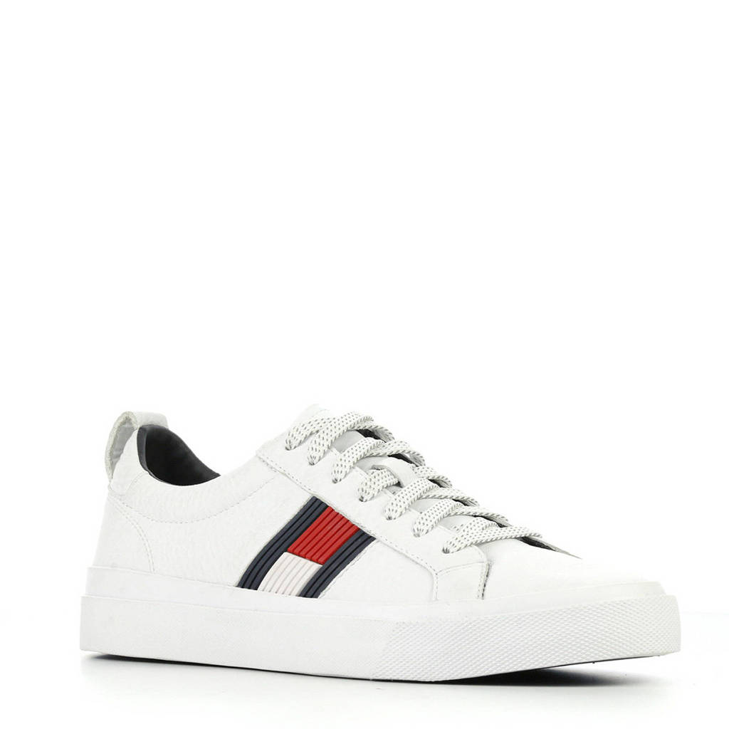 Tommy Hilfiger  Flag Detail High leren sneakers wit, Wit