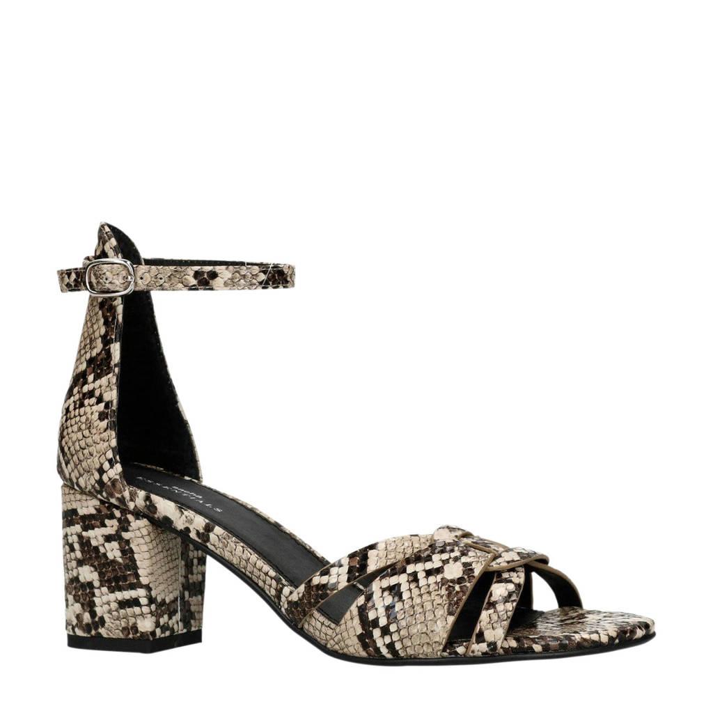 Sacha   sandalettes met slangenprint, Grijs/zwart