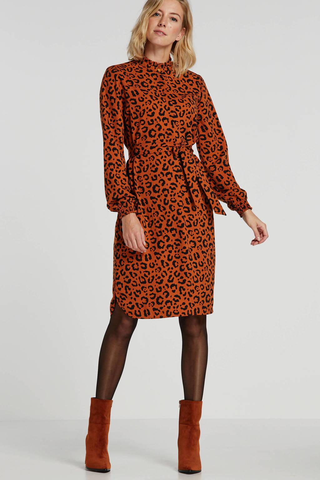anytime blousejurk met panterprint oranje/zwart, Oranje/zwart