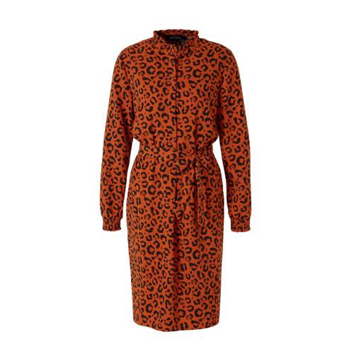 anytime blousejurk met panterprint oranje/zwart