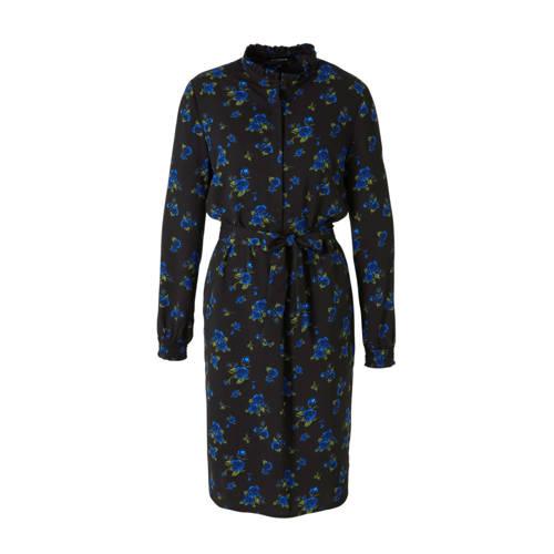 anytime gebloemde blousejurk zwart/donkerblauw/gro