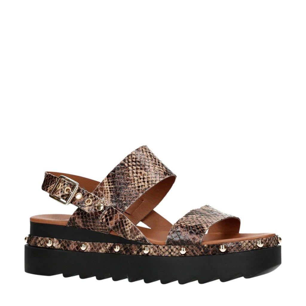 Sacha plateau sandalen met slangenprint, Bruin