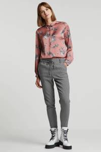 wehkamp satijnen blouse oudroze met zebraprint, oudroze/zwart/wit