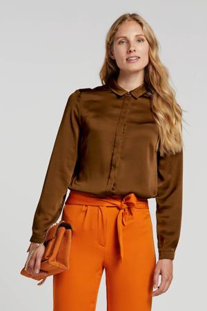 satijnen blouse bruin