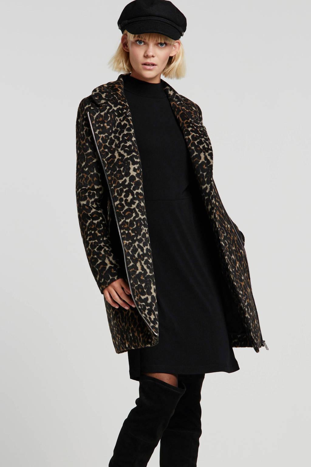 anytime coat met panterprint zwart/camel, Zwart/camel