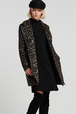 coat met panterprint zwart/camel