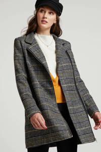 anytime geruite coat, Zwart/ecru/geel