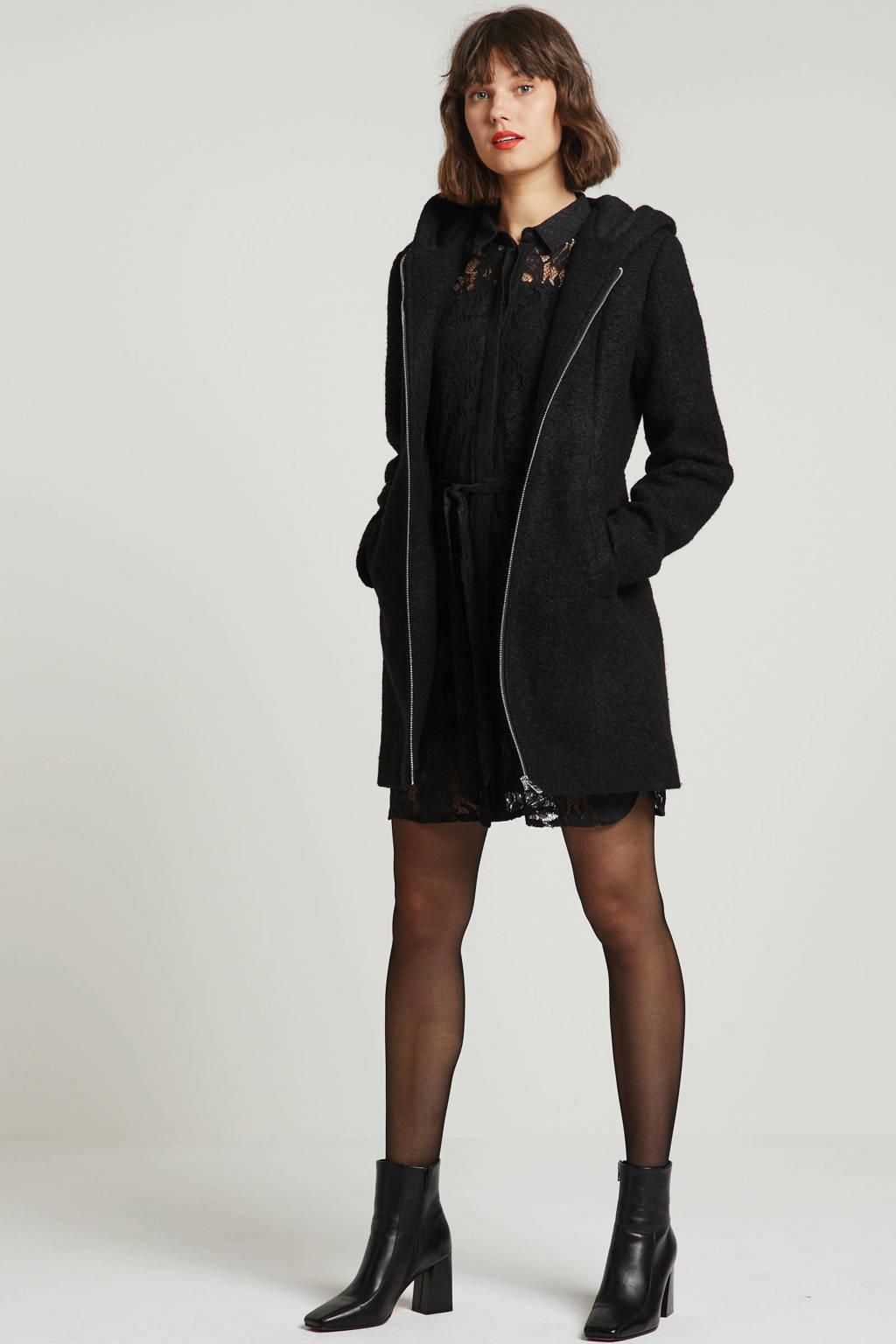 anytime jas met wol zwart, Zwart