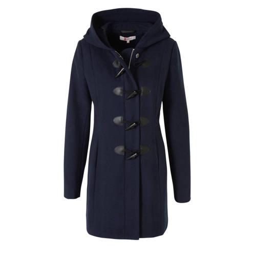 wehkamp coat met wol donkerblauw